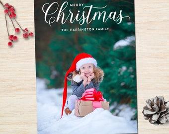 Printable Christmas Card with Photo / Classic Merry Christmas Photo Cards / Custom Holiday Photo card