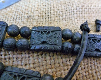 BLACK GLASS BEAD butterfly belt