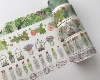 """Full rolls/24"""" samples of scenery, succulents, and dreamcatcher washi tape"""