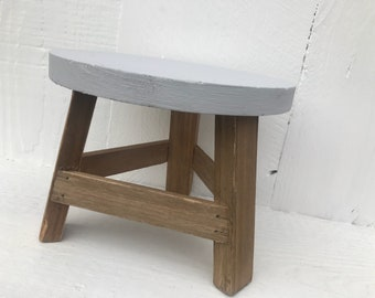 Milking Stool / Garden Plant Stand / Farmhouse Style Decorative Step Stool / Rustic Home Decor / Wood Stool Riser / Gray Home Accent