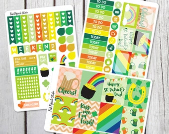 St Patricks Day Weekly Kit Planner Stickers Designed for Erin Condren Life Planner Vertical