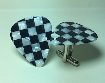 Pearlized Black and White Checker Guitar Pick Cufflinks Free Gift Bag Unique Wedding