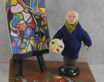 Pablo Picasso-  Miniature Sized-  Artist With Easel-  Diorama Art-  Spanish Painter- Shelf Decor -