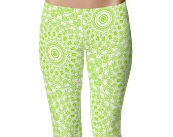 Chartreuse Leggings, Bright Green Yoga Leggings, Lime Green and White Printed Leggings, Stretchy Yoga Pants