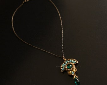 Bronze Necklace, Pendant with Swarovski Crystal Emerald Stone Beaded in Bronze, Gold and Turquoise. Art Deco Style Fan Shaped Pendant. S195