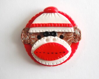 Button NEW Biggy Button Sock Monkey handmade polymer clay button ( 1 )