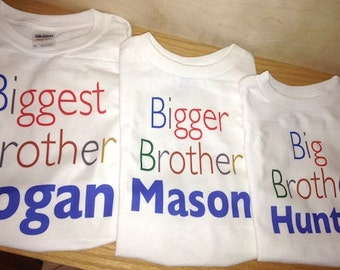 Set of Three Personalized Biggest Brother, Big Brother and Little Brother