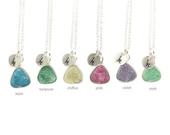 Triangle Druzy Necklace | Stamped Initial Necklace | Layering Jewelry | Next Day Shipping | Custom Druzy Necklace | Sparkly Jewelry