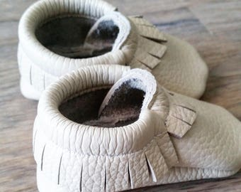 Leather moccasins, leather shoes, leather moccs, baby shoes