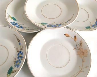Antique plates, vintage plates, hand painted plates, fruits plates, dessert plates, Italian ceramic, Richard, kitchen decor, wall decor