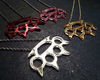 Brass Knuckles Necklace in Gold, Red, Pink, Silver, Spikes Mirrored Metallic Statement Necklace