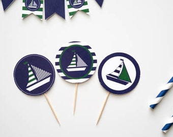 Printable Sailboat Cupcake Toppers, Printable Green and Navy Sailboat Birthday Party, Navy and Green Sailboat  Printable Party Circles