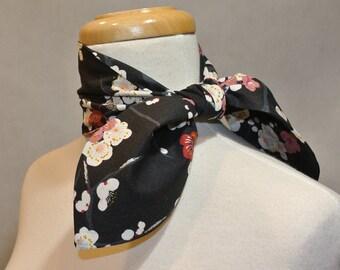 Ume blossom Floral Scarf,Skinny Scarf,Mini Scarf,Mini Skinny Scarf,Cotton Mini Skinny Scarf,Kerchief,Neckerchief,Ascot,Mini Ascot Scarf