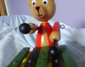 Vintage pull along toy. Billy Bear playing his xylophone, vintage toy collectors, vintage toy, vintage bear, vintage pull along
