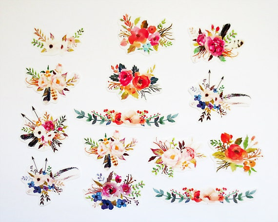 Flower planner sticker pack flower stickers bohemian