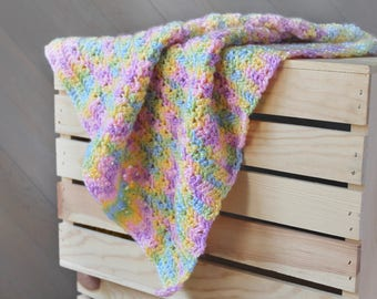 Crochet Baby Blanket - Pastel - Travel / Car Seat / Stroller