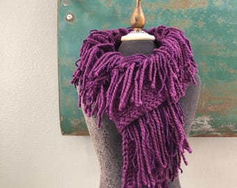 The Fringe Scarf in Plum Purple