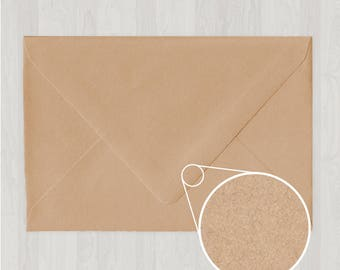 10 A8 Envelopes - Euro Flap - Light Brown & Gold - DIY Invitations - Envelopes for Weddings and Other Events