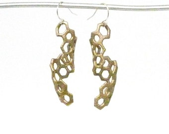 Honeycomb Earrings (3D Printed Steel, Bronze or Gold)