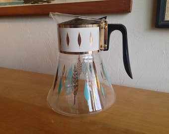 David Douglas Flameproof Coffee Carafe Turquoise & Gold Leaf Pattern