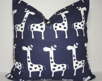 Navy Giraffe Decorative Pillow Navy & White Giraffe Pillow Nursery Baby Pillow Covers All Sizes