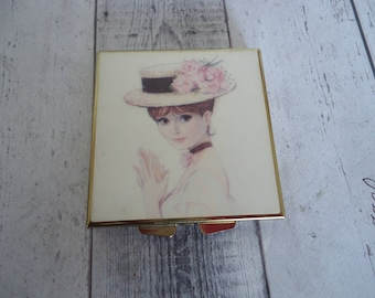 "Vintage Gold Tone Pill Box w/ Victorian Era Lady Design Cover, 2 1/2"" Wide and Long"
