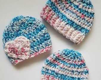 Toddler Hat | 1 to 2 year old | Pink Blue White | Heart Hat | Ready to ship!