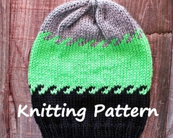 DIY Pattern - Interlocking Stripes Hat Knitting Pattern for Holiday or Birthday Gifts - One size beanie fits most - toque skullcap pattern