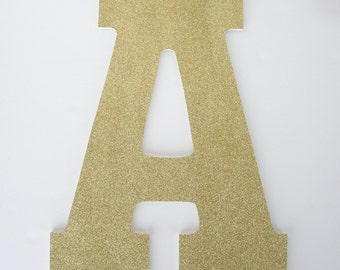 Gold Glitter Letters, Wooden Nursery for Baby Girl, Large 13 inch letters, Custom Wedding Decoration Ideas, Baby Shower Gift, Wood Initial