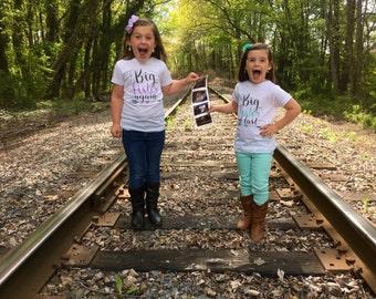Big Sister Shirt / Big sister At Last / Big sister Again T-shirt or Bodysuit - Pregnancy Reveal