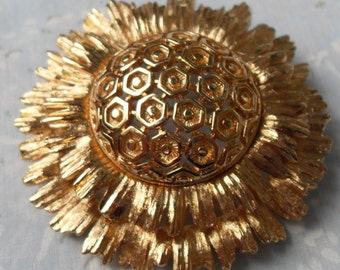 Vintage Brooch Estate Piece Look Like Sunflower Large Gold Color Monet on Back Locking Clasp Looks New