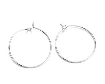 10 rings 25mm silver plated brass hoops
