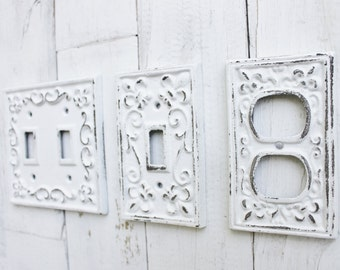 Light Switch Cover,Double Iron Switch Plate,Single Switch Plate,Metal Outlet Switch Plate Cover,Shabby Chic,Decorative Switch Plate,White