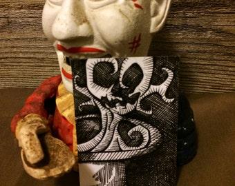 Original Pen and Ink ACEO Magic Hat Skull Art Card - Arcane
