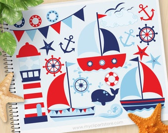Sailing Away Boy Clipart, Nautical, sailboat, bunting, lighthouse, anchor, Commercial Use, Vector clip art, SVG Cut Files