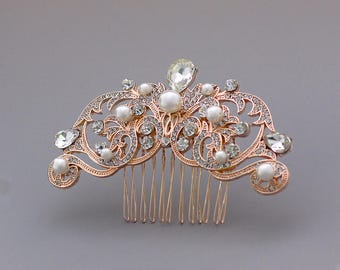 Rose Gold Hair Comb, Vintage Wedding Hair Comb, Rose Gold Bridal Hair Clip, Ivory Pearl Bridal Haircomb,  ROCIO RG
