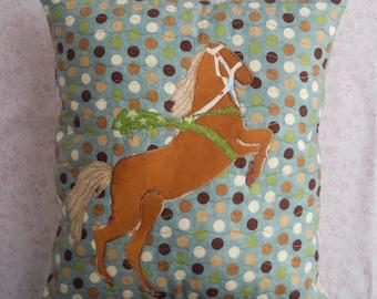 Horse Throw Pillow Brown Applique on Polka Dots