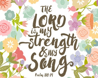 Strength and Song - 8x10 Fabric Block - Great for Quilting, Pillows & Wall Art - Buy 2, Get 1 FREE