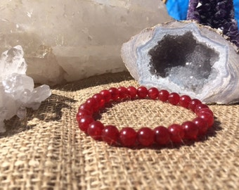 Red Jade 8mm Healing Stone Bracelet