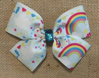 Rainbow Hair Bow,  Cloud Hair Bow, Rainbow Bows, Cloud Hair Clip,  Magical Rainbow Bow, Rainbow hair clip, Hair Bows, Hair Bows For Girls