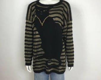 Vtg 70s 80s novelty striped gold cat avant garde sweater