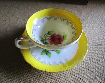 Bone China Teacup and Saucer   Pink Rose   Yellow Trim    Wales China