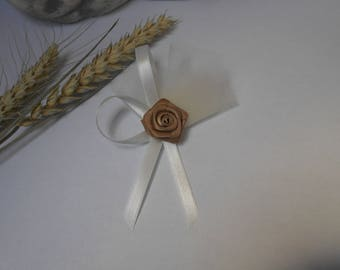 Brooch - lapel pins for wedding - ivory and taupe