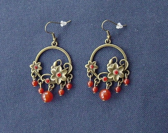 Bronze crystals and agates safranées metal flowers earrings