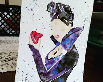 "Once Upon a Time - The Evil Queen - watercolor painting (5""x7"")"