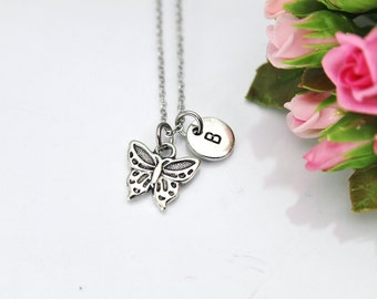 Butterfly Necklace, Silver Butterfly Charm, Insect Bug Charm, Mother's Day Gift, Gardener Gift, Gardening Gift, Personalized Gift, N129