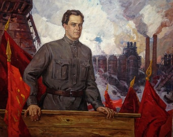 """The original picture of the USSR """"Speech by Valerian Kuibyshev at a rally for industrialization"""" by artist Music by A.F. 1974"""