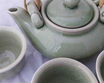 Petite Celadon Porcelain Tea Set
