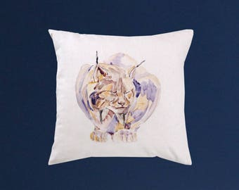 Wildcat pillow cover - Art throw pillow - Watercolor painting - Special art design - Gift idea