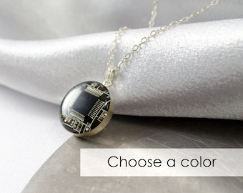 Circuit Board Necklace CHOOSE COLOR, Sterling Silver Jewelry Computer Jewelry, Engineer Gift, Wearable Technology, Electrical Engineer Gift